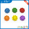 Natural Wooden Flower Shaped Button with Painting Color