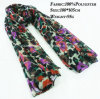 100% Polyester Floral Printed Fashion Infinity Scarf, Pashmina Scarf