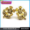 Handmade Flower Stud Earring/Gold Flower Earring/Crystal Earring