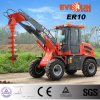 1.0 Ton Everun Brand Mini Garden Wheel Loader with Grass Forks/ Auger/ Cutter Head