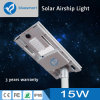 15W High Quality All-in-One/Integrated Solar LED Sensor Street Light