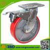 6inch Total Brake Red PU Caster Trolley Wheel