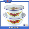 White Color and Decal Metal Water Bowl for Washing Hand