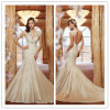 Gorgeous Trumpet/Mermaid V-Neck Chapel Train Appliques Beading Taffeta Wedding Dress 2014