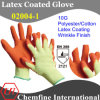 10g Yellow Polyester/Cotton Knitted Glove with Orange Latex Wrinkle Coating/ En388: 2121