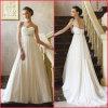 Strapless Chiffon Formal Gown Zipper Buttons Empire Wedding Dress (H037)