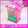 2015 Wooden House Toy Money Saving Box, Cute Wooden Money Saving Bank, High Quality Piggy Bank Money Boxes W02A025