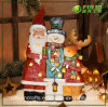 Polyresin Xmas Resin Christmas Snowman and Reindeer Decoration (NF360092)
