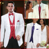 White Groom Men Suits Red Blue Purple Formal Wedding Tuxedo Mic2016