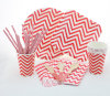 Red Chevron Design Tableware Disposable Paper Plates