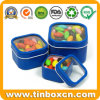 Square Tin Box Set with Clear PVC Window for Candy