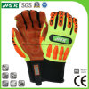 Flame Retardant Anti-Impact Mechanical Leather Safety Work Gloves with TPR