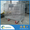 Warehouse Folding Stackable Storage Wire Mesh Containers with Wheels