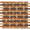 Arch Wavy Orange Brown Mixed Crystal Mosaic Tile