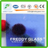 Blue Flora Colored Patterned Decorative Glass in Fine Quality