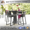 Well Furnir Brown Color 4 Seat Square Bar Set with Ice Bucket Rattan Garden Set T-042
