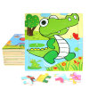 Factory Direct Hot 3D DIY Chindlren Cartoon Wooden Frame Puzzle Educational Toys Crocodile
