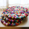 Car Handmade Christmas Round Wool Felt Washable Ball Mats