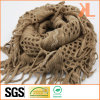100% Acrylic Fashion Brown Warp Knitted Neck Scarf with Fringe