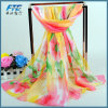2017 Lady Flower Printed Silk Chiffon Scarf