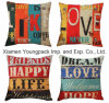 Home Decorative Custom Printed Cotton Linen Square Zipper Sofa Throw Cushion Covers