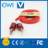 Red Metal Flat 3.5mm to 3.5mm Audio Aux Cable