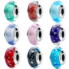 S925 Sterling Silver Beads Murano Glass Charm Pandora Beads Fit DIY Bracelets Jewelry Makings