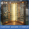 L Shape Customized Rose Gold Wine Display Shelf with Glass Door