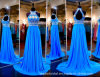 Halter Prom Party Gowns Blue Beading Crystals Evening Dress Ld15294