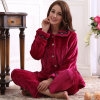 Autumn and Winter Warm Winter Coral Fleece Pajamas Female Thickened Flannel Lapel Home Furnishing Wear Long Sleeved Suit Bear Biscuits