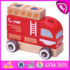 2015 Funny Play Wooden Fire Fighting Car Toy, Pull Back Fire Fighting Car Toy, Interesting Wooden Fire Fighting Car Toy W05c011