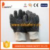 Black PVC Rough Chip Cotton Line Work Antislip Glove Dpv119