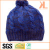 100% Acrylic Mixed Ab Yarned Cable Knitted Hat with Pompom