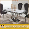 Home Furniture U Shape Stainless Steel Marble Dining Table Set
