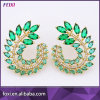 18K Gold Plated Crystal Grandes Brincos Earring