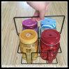 Set Glass Mason Jar with Metal Basket