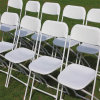 White Commercial Poly Folding Chair with Metal Frame