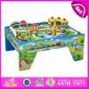 2015 High End Kids Wooden Toy Train Set, Educational Toy Thomas Railway Toy Train, 100/S Wooden Train Set with Table W04D005