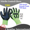 10g Green Acrylic Fiber Knitted Glove with Black Nitrile Smooth Coating & TPR Back/ En388: 3122 (T001)