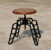Vintage Metal and Wood Low Stool