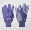 Lady′s Purple PVC Dotted Palm Cotton Garden Glove (2621)