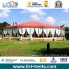 Outdoor Big Red Top Round Tent with Galss Walls and Sidewall Curtains for Events