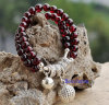 Natural Garnet Beads with Silver Charm Bracelet (BRG0001)