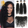 Brazilian Virgin Hair Deep Curly with Lace Frontal Closure Ear to Ear Lace Frontal Closure with Bundles Brazilian