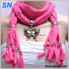 Rhinestone Inlay Butterfly Charm Necklace Scarf (SNSMQ1025)