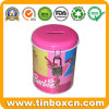 Round Metal Tin Coin Bank with Lock, Saving Money Box