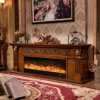 Hotel Furniture European Sculpture TV Stand LED Lights Heating Fireplace (321S)