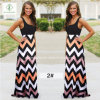 Hot Sell Ladies Beach Boho Maxi Long Dress with Strip Printed