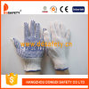 Ddsafety 2017 Bleach Cotton/Polyester String Knit Glove Blue PVC Dots One Side