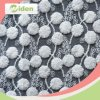 Nylon and Cotton Mesh Embroidery Lace Fabric with POM POM